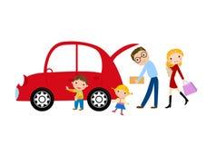 Família e carro Fotos de Stock