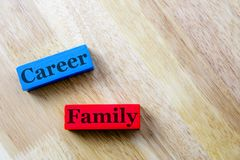 Família e conceito da palavra da carreira Família Fotografia de Stock