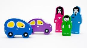 Família e dois carros Imagem de Stock