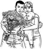 Família e flores Imagens de Stock Royalty Free