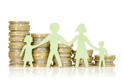 Família e pilhas de papel de moedas Fotos de Stock