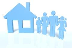 Família e uma casa ilustração royalty free
