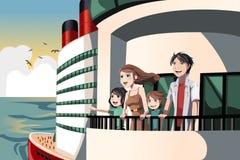 Família em um desengate do cruzeiro ilustração stock
