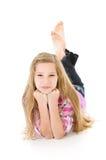 Família: Encontro Pre-adolescente bonito com mãos em Chin fotografia de stock