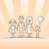 Família engraçada do vetor dos desenhos animados Foto de Stock