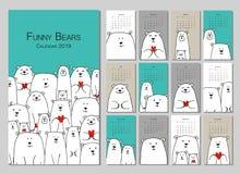 Família engraçada dos ursos brancos Calendário 2019 do projeto ilustração do vetor