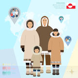 Família Eskimo no vestido nacional, ilustração do vetor Imagens de Stock Royalty Free