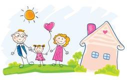 A família está movendo-se na casa nova Imagens de Stock Royalty Free
