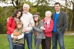 Família extensa na caminhada através do campo fotografia de stock