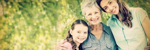 Família extensa que sorri no parque foto de stock royalty free