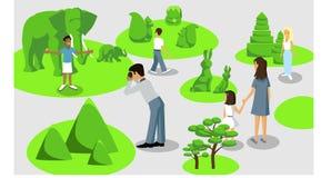A família feliz anda em torno do parque da cidade Pai, mãe, filho e filha junto fora Ilustração do vetor no estilo dos desenhos a ilustração do vetor