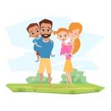 Família feliz com as crianças com abraço das inabilidades Imagens de Stock Royalty Free