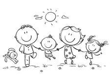 Família feliz com as duas crianças que têm o divertimento que corre fora, esboço ilustração stock