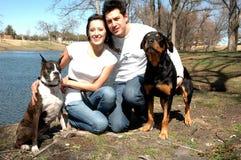 Família feliz com cães fotos de stock royalty free