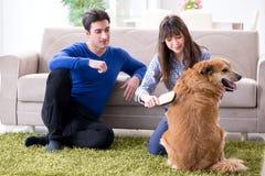 A família feliz com cão do golden retriever imagem de stock royalty free