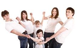 Família feliz com crianças do grupo. imagens de stock royalty free