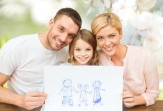 Família feliz com desenho ou imagem Imagem de Stock Royalty Free