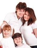 Família feliz com duas crianças. fotos de stock