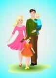 Família feliz com duas crianças Imagens de Stock Royalty Free