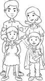 Família feliz com duas crianças, linha desenhos animados da arte Foto de Stock Royalty Free