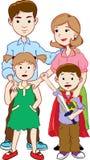 Família feliz com duas crianças, vetor dos desenhos animados Fotos de Stock Royalty Free