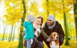 Família feliz com o cão do lebreiro no parque do outono fotografia de stock