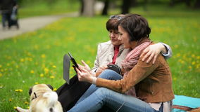 Família feliz com o cão pequeno durante o piquenique da mola no parque A filha adulta com sua mãe está usando a tabuleta fora video estoque