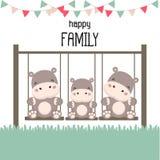 Família feliz com o hipopótamo no balanço ilustração do vetor