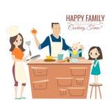Família feliz com os pais e as crianças que cozinham na cozinha ilustração do vetor
