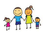 Família feliz com pai, matriz, e terra arrendada h do filho Imagem de Stock