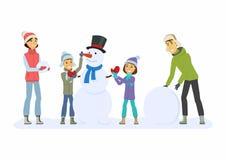 A família feliz constrói um boneco de neve - ilustração dos caráteres dos povos dos desenhos animados Foto de Stock Royalty Free