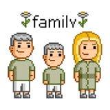 Família feliz da arte do pixel Imagens de Stock