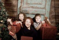 A família feliz decora a árvore de Natal Fotos de Stock