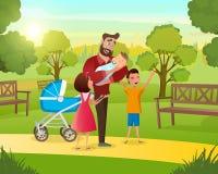 Família feliz do conceito da ilustração dos desenhos animados do vetor ilustração stock
