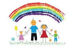 Família feliz do desenho da criança Fotografia de Stock Royalty Free
