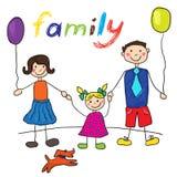 Família feliz do desenho da criança com cão Pai, mãe, filha Fotos de Stock