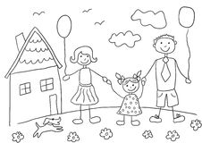 Família feliz do desenho da criança com cão Pai, mãe, filha e sua casa Foto de Stock Royalty Free