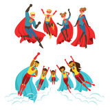 Família feliz do grupo dos super-herói Pais de sorriso e suas crianças vestidos como ilustrações coloridas do vetor dos super-her ilustração stock