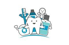 Família feliz dos dentes e do amigo saudáveis, conceito dos cuidados dentários ilustração royalty free