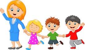 Família feliz dos desenhos animados Fotos de Stock Royalty Free