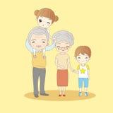 Família feliz dos desenhos animados bonitos Imagem de Stock