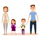 Família feliz dos desenhos animados com ilustração pequena das crianças Fotografia de Stock Royalty Free