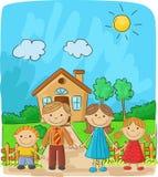 Família feliz dos desenhos animados contra uma paisagem e a casa Fotografia de Stock Royalty Free