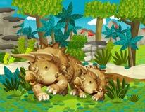 Família feliz dos desenhos animados da ilustração dos triceratopses dos dinossauros para crianças Foto de Stock Royalty Free