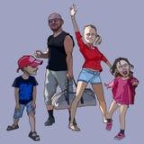 Família feliz dos desenhos animados de um par com duas crianças Fotografia de Stock