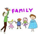 Família feliz dos desenhos animados desenhados mão Fotos de Stock