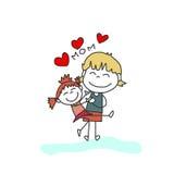 Família feliz dos desenhos animados do desenho da mão Imagem de Stock Royalty Free