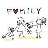 Família feliz dos desenhos animados do desenho da mão Imagens de Stock