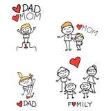 Família feliz dos desenhos animados do desenho da mão Imagens de Stock Royalty Free