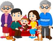 Família feliz dos desenhos animados isolada no fundo branco Fotografia de Stock